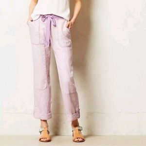 ANTHRO HEI HEI LILAC LACE LINEN CARGO ANKLE PANTS